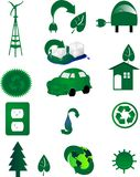 Los iconos ambientales para van verde. en el mundo. stock de ilustración