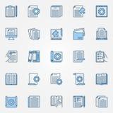Los iconos azules de la documentación técnica fijan - vector las muestras del documento ilustración del vector