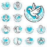 Los iconos azules del esquema de la paz aman el ejemplo libre del vector de los símbolos de la esperanza del cuidado del internat Imagen de archivo libre de regalías