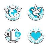 Los iconos azules del esquema de la paz aman el ejemplo libre del vector de los símbolos de la esperanza del cuidado del internat Imagenes de archivo
