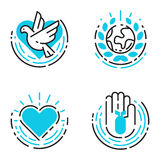 Los iconos azules del esquema de la paz aman el ejemplo libre del vector de los símbolos de la esperanza del cuidado del internat Fotos de archivo