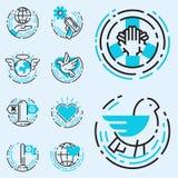 Los iconos azules del esquema de la paz aman el ejemplo libre del vector de los símbolos de la esperanza del cuidado del internat Fotos de archivo libres de regalías