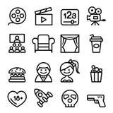 Los iconos básicos de las películas fijaron la línea ejemplo del vector del icono Fotos de archivo libres de regalías