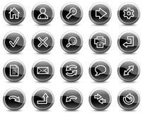 Los iconos básicos del Web, círculo brillante negro abotonan