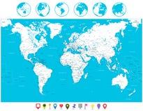 Los iconos blancos del mapa del mundo y de la navegación del color detallaron altamente illus stock de ilustración