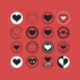 Los iconos blancos y negros de los emblemas del corazón fijaron en el fondo coralino Fotografía de archivo