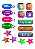 Los iconos, botones, etiquetan el anuncio publicitario Fotos de archivo libres de regalías