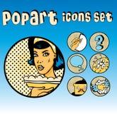 Los iconos cómicos de Popart fijaron cocina Foto de archivo