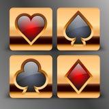 Los iconos con la tarjeta se adaptan a símbolos en oro Imagen de archivo