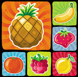 Los iconos con sabor a fruta coloridos fijaron 2 ilustración del vector