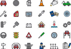 Los iconos conectaron los coches y las reparaciones del coche Imágenes de archivo libres de regalías