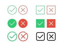 Los iconos cruzados de la marca de verificación de la señal y del vector de la disminución para Internet abotonan Imagenes de archivo