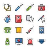 Los iconos de los accesorios del hospital embalan stock de ilustración