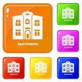 Los iconos de los apartamentos fijaron color del vector ilustración del vector