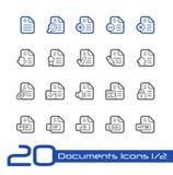 Los iconos de documentos - fije 1 de la línea serie de 2 // Fotos de archivo libres de regalías