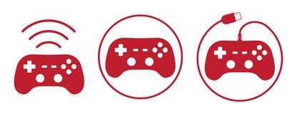 Los iconos de Gamepad fijaron el ejemplo del vector en estilo plano ilustración del vector