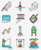Los iconos de la afición de la pesca fijaron en la línea arte la pocilga ligeramente y simplemente colorida Imágenes de archivo libres de regalías