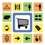 Los iconos de la alameda de compras fijaron 2 Imágenes de archivo libres de regalías
