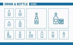 Los iconos de la bebida y de la botella - fije la web y el móvil 01 stock de ilustración
