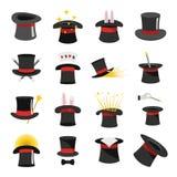Los iconos de la brujería del sombrero del mago fijaron, estilo plano stock de ilustración
