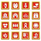 Los iconos de la caridad fijaron vector del cuadrado rojo Foto de archivo