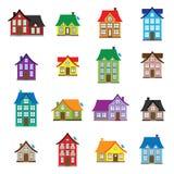 Los iconos de la casa del vector fijaron, diseño plano de la colección casera colorida del icono Imagen de archivo libre de regalías