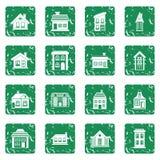 Los iconos de la casa fijaron grunge Imagen de archivo