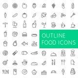 Los iconos de la comida del esquema fijaron para el web y los usos Fotografía de archivo libre de regalías