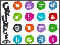 Los iconos de la comida y de la cocina fijaron en estilo del grunge Imagen de archivo