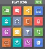 Los iconos de la comunicación fijaron en estilo plano con sh largo Imagen de archivo libre de regalías