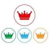 Los iconos de la corona fijaron - autoridad de la monarquía y símbolos reales libre illustration