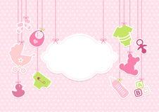 Los iconos de la ejecución de la tarjeta del bebé se nublan las estrellas modelan rosado stock de ilustración