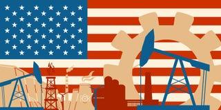 Los iconos de la energía y del poder fijaron con la bandera de los E.E.U.U.