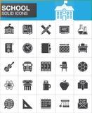 Los iconos de la escuela fijaron, colección sólida moderna del símbolo libre illustration