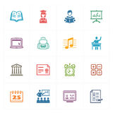 Los iconos de la escuela y de la educación fijaron 2 - serie coloreada Imágenes de archivo libres de regalías