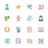 Los iconos de la escuela y de la educación fijaron 5 - serie coloreada Foto de archivo libre de regalías
