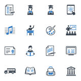 Los iconos de la escuela y de la educación fijaron 2 - serie azul Imágenes de archivo libres de regalías