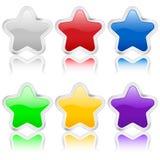 los iconos de la estrella 3d metal contorno ilustración del vector