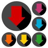 Los iconos de la flecha de la dirección abajo fijaron con la sombra larga Fotografía de archivo