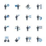 Los iconos de la gestión de negocio fijaron 2 - serie azul Imagen de archivo libre de regalías