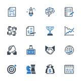Los iconos de la gestión de negocio fijaron 4 - serie azul Imágenes de archivo libres de regalías