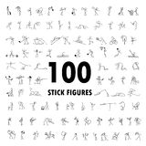 Los iconos de la historieta fijaron de figura del palillo de 100 personas del bosquejo pequeñas Fotografía de archivo