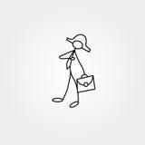 Los iconos de la historieta fijaron de figuras del bisiness del palillo del bosquejo en escenas miniatura lindas stock de ilustración