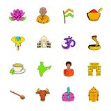 Los iconos de la India fijaron la historieta stock de ilustración