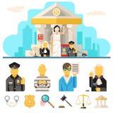 Los iconos de la ley del tribunal fijaron la justicia Symbol Concept encendido Fotografía de archivo libre de regalías