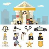 Los iconos de la ley fijaron la justicia Symbol Concept en ciudad Foto de archivo libre de regalías