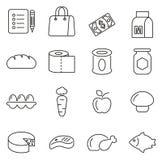Los iconos de la lista o de la compra de comida del ultramarinos enrarecen la línea sistema del ejemplo del vector Imagen de archivo libre de regalías