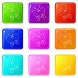 Los iconos de la mariposa fijaron la colecci?n de 9 colores stock de ilustración