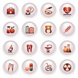 Los iconos de la medicina fijaron 2. series rojas negras. Foto de archivo libre de regalías