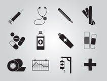 Los iconos de la medicina fijaron simple Imágenes de archivo libres de regalías